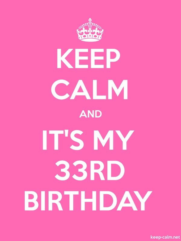 KEEP CALM AND IT'S MY 33RD BIRTHDAY - white/pink - Default (600x800)