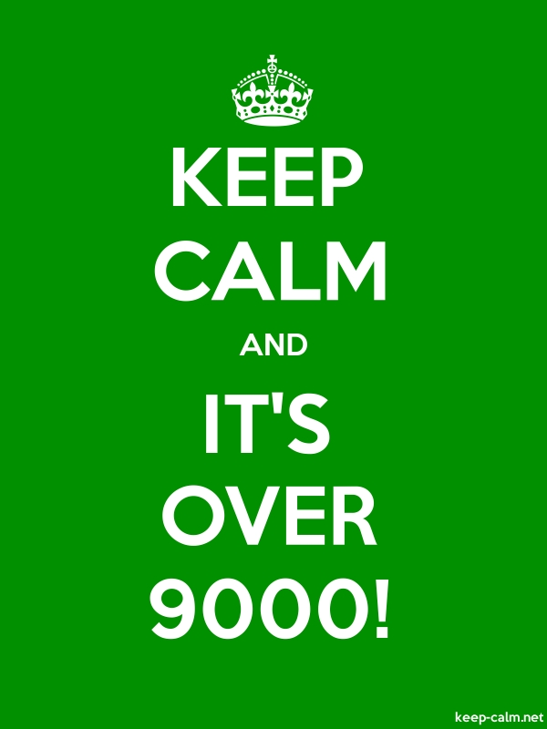 KEEP CALM AND IT'S OVER 9000! - white/green - Default (600x800)