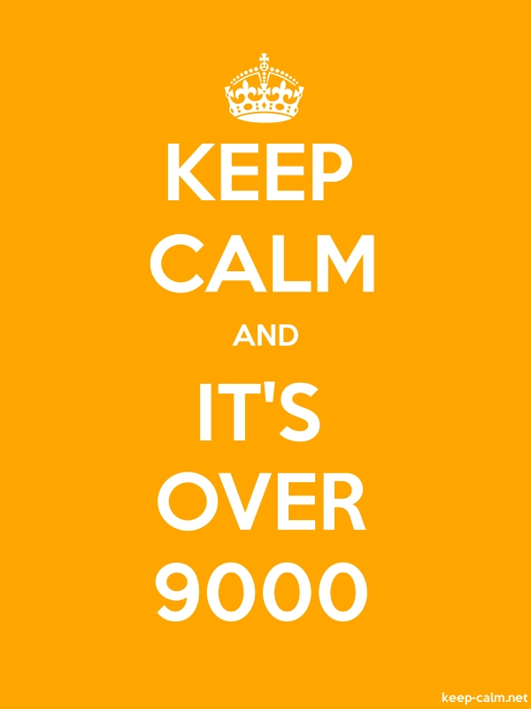 KEEP CALM AND IT'S OVER 9000 - white/orange - Default (600x800)
