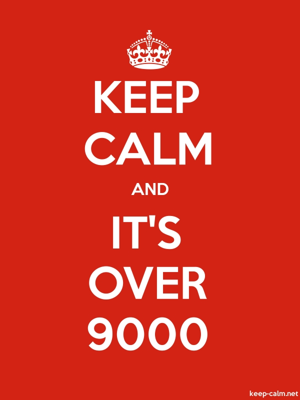 KEEP CALM AND IT'S OVER 9000 - white/red - Default (600x800)