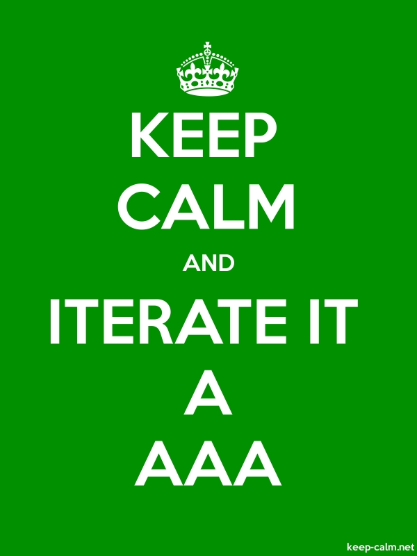 KEEP CALM AND ITERATE IT A AAA - white/green - Default (600x800)
