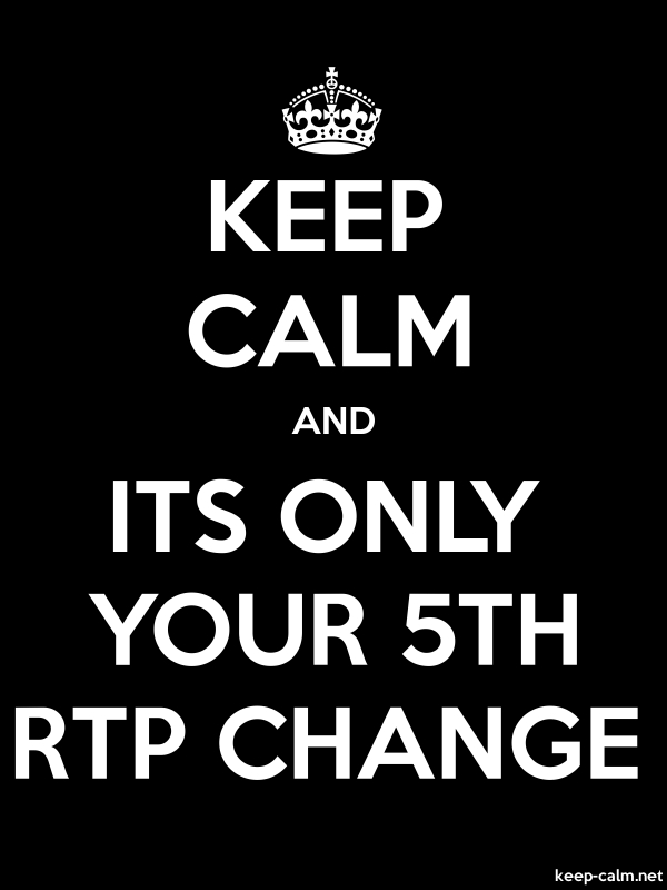 KEEP CALM AND ITS ONLY YOUR 5TH RTP CHANGE - white/black - Default (600x800)