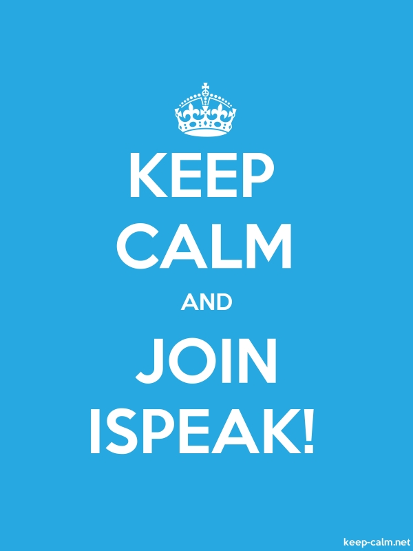 KEEP CALM AND JOIN ISPEAK! - white/blue - Default (600x800)