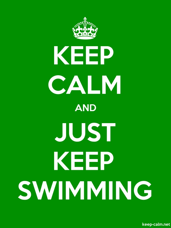 KEEP CALM AND JUST KEEP SWIMMING - white/green - Default (600x800)