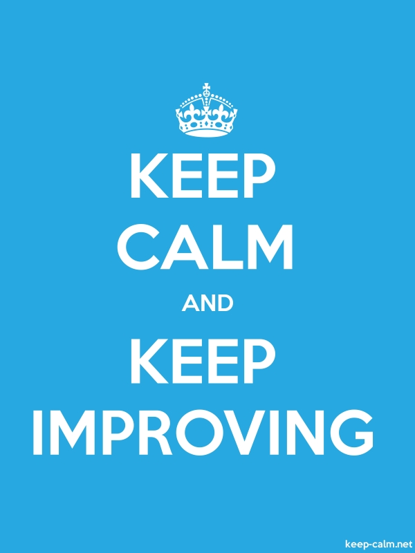 KEEP CALM AND KEEP IMPROVING - white/blue - Default (600x800)