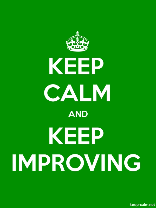 KEEP CALM AND KEEP IMPROVING - white/green - Default (600x800)