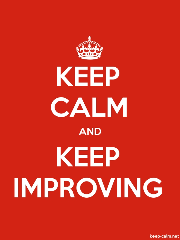 KEEP CALM AND KEEP IMPROVING - white/red - Default (600x800)