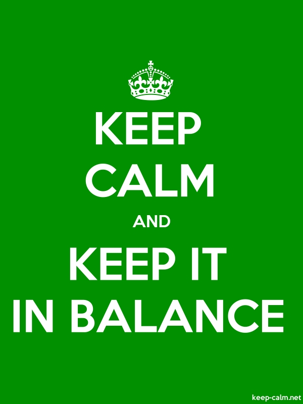 KEEP CALM AND KEEP IT IN BALANCE - white/green - Default (600x800)