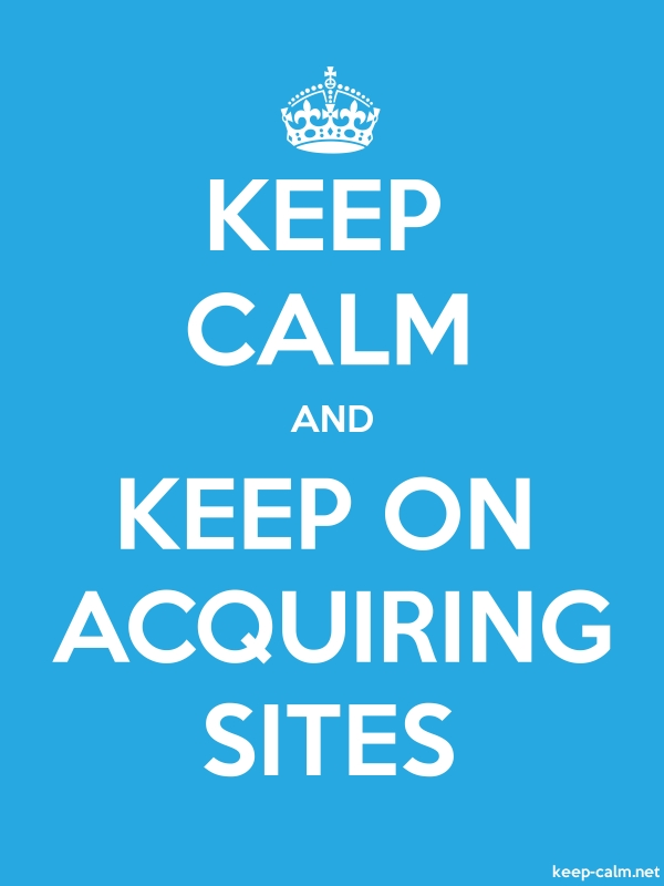 KEEP CALM AND KEEP ON ACQUIRING SITES - white/blue - Default (600x800)