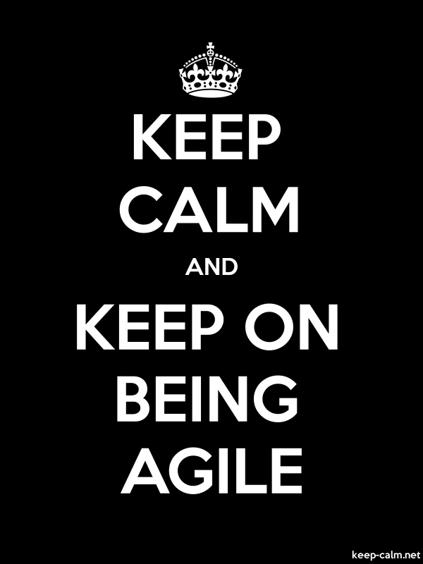 KEEP CALM AND KEEP ON BEING AGILE - white/black - Default (600x800)