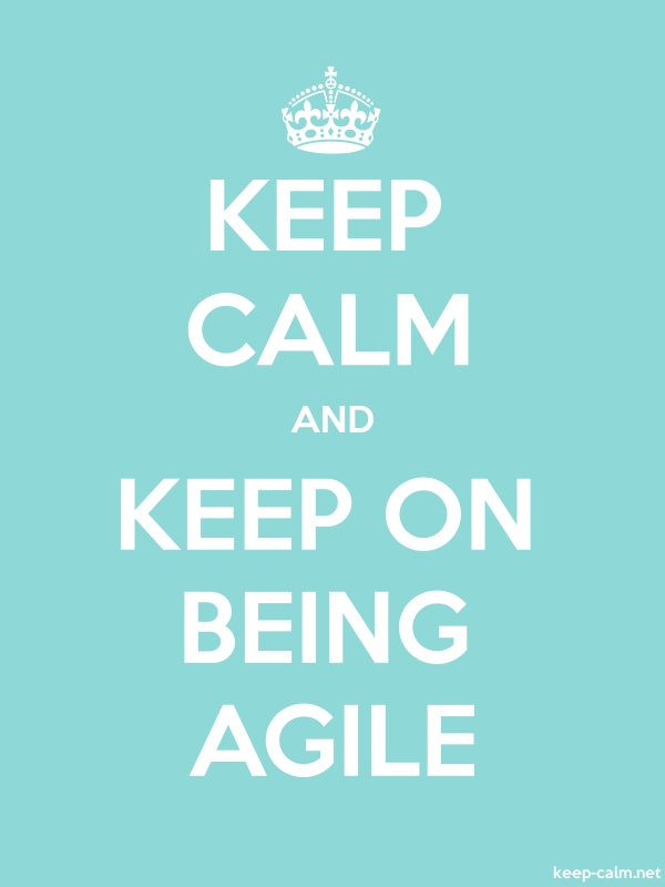 KEEP CALM AND KEEP ON BEING AGILE - white/lightblue - Default (600x800)