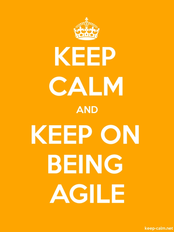 KEEP CALM AND KEEP ON BEING AGILE - white/orange - Default (600x800)