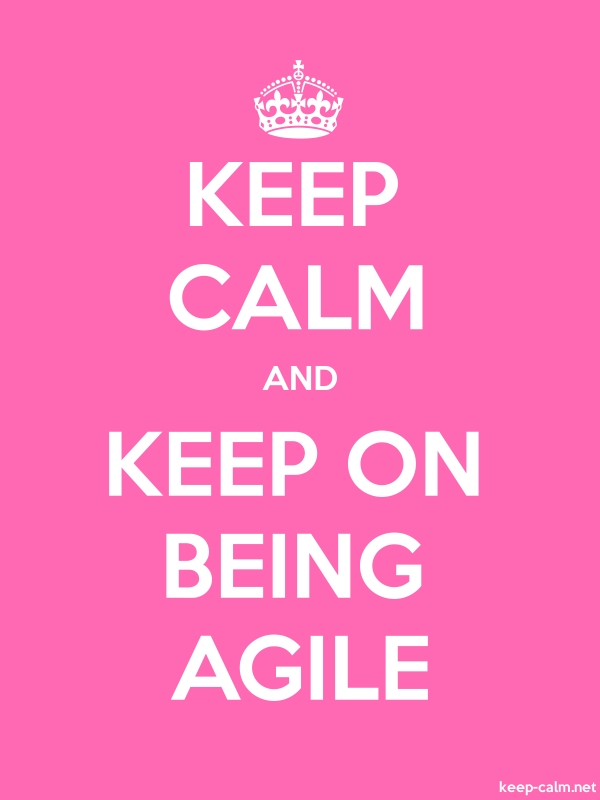 KEEP CALM AND KEEP ON BEING AGILE - white/pink - Default (600x800)