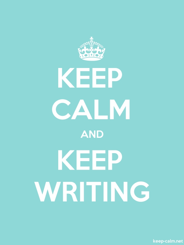 KEEP CALM AND KEEP WRITING - white/lightblue - Default (600x800)
