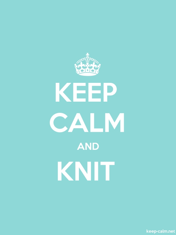 KEEP CALM AND KNIT - white/lightblue - Default (600x800)