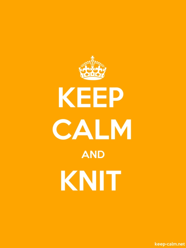 KEEP CALM AND KNIT - white/orange - Default (600x800)