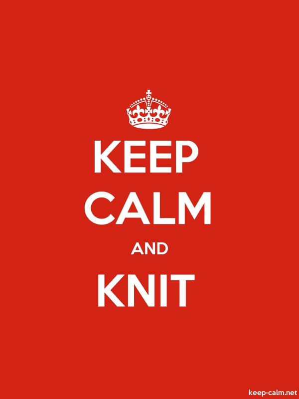 KEEP CALM AND KNIT - white/red - Default (600x800)