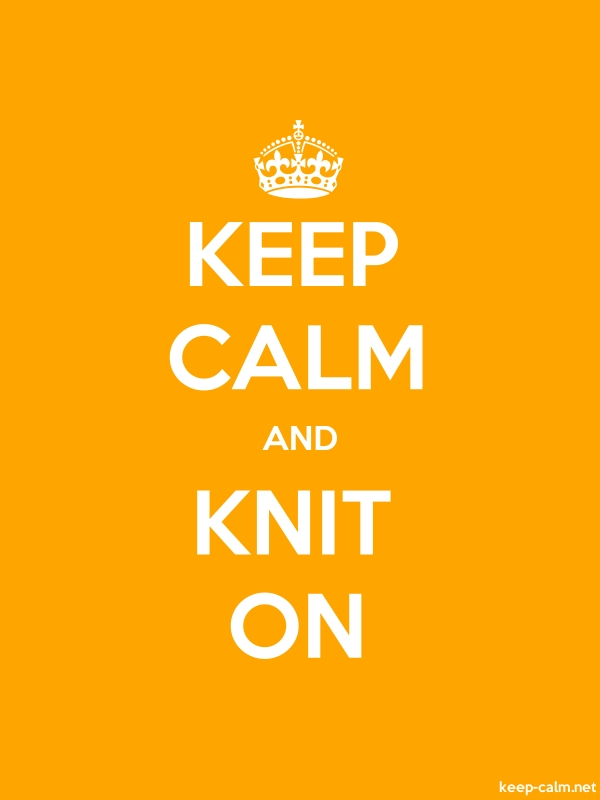 KEEP CALM AND KNIT ON - white/orange - Default (600x800)