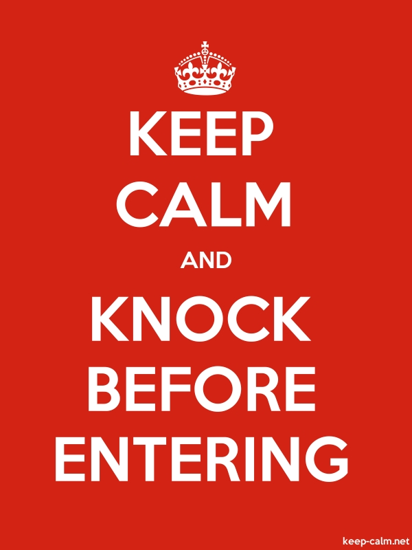 KEEP CALM AND KNOCK BEFORE ENTERING - white/red - Default (600x800)