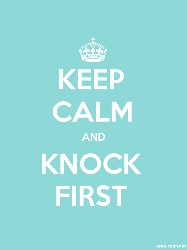KEEP CALM AND KNOCK FIRST - white/lightblue - Default (600x800)