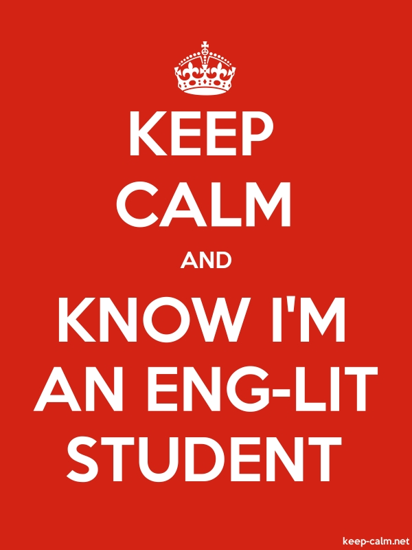 KEEP CALM AND KNOW I'M AN ENG-LIT STUDENT - white/red - Default (600x800)