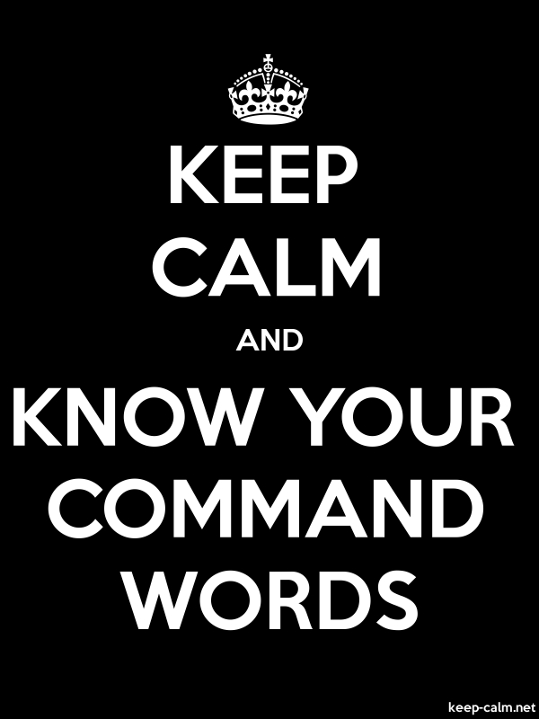 KEEP CALM AND KNOW YOUR COMMAND WORDS - white/black - Default (600x800)