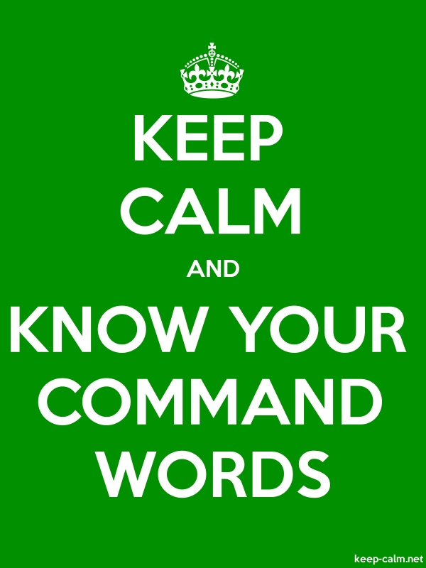 KEEP CALM AND KNOW YOUR COMMAND WORDS - white/green - Default (600x800)