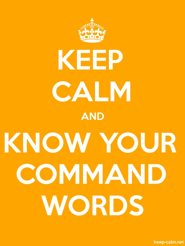 KEEP CALM AND KNOW YOUR COMMAND WORDS - white/orange - Default (600x800)