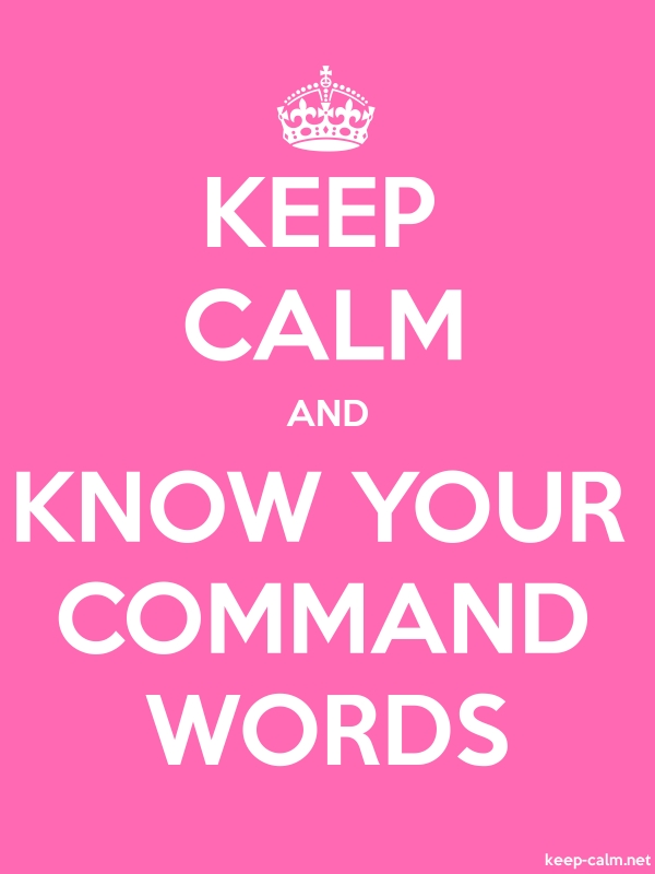KEEP CALM AND KNOW YOUR COMMAND WORDS - white/pink - Default (600x800)