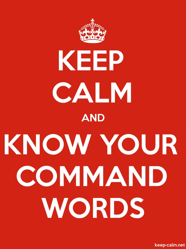 KEEP CALM AND KNOW YOUR COMMAND WORDS - white/red - Default (600x800)