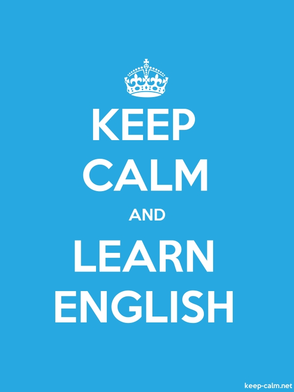 KEEP CALM AND LEARN ENGLISH - white/blue - Default (600x800)