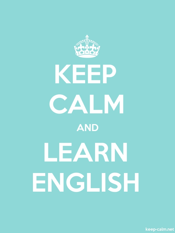 KEEP CALM AND LEARN ENGLISH - white/lightblue - Default (600x800)