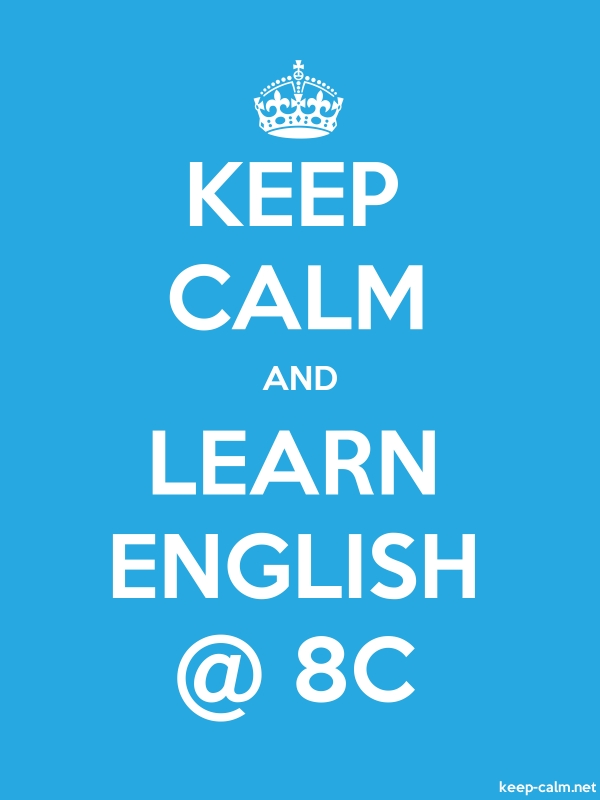 KEEP CALM AND LEARN ENGLISH @ 8C - white/blue - Default (600x800)