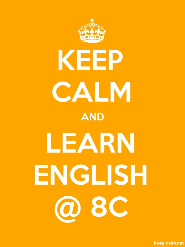 KEEP CALM AND LEARN ENGLISH @ 8C - white/orange - Default (600x800)