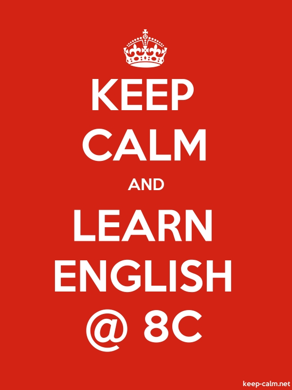 KEEP CALM AND LEARN ENGLISH @ 8C - white/red - Default (600x800)