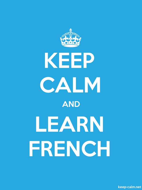 KEEP CALM AND LEARN FRENCH - white/blue - Default (600x800)