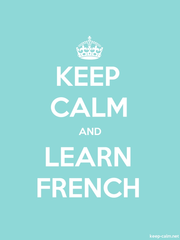 KEEP CALM AND LEARN FRENCH - white/lightblue - Default (600x800)