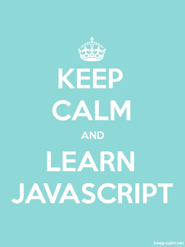 KEEP CALM AND LEARN JAVASCRIPT - white/lightblue - Default (600x800)