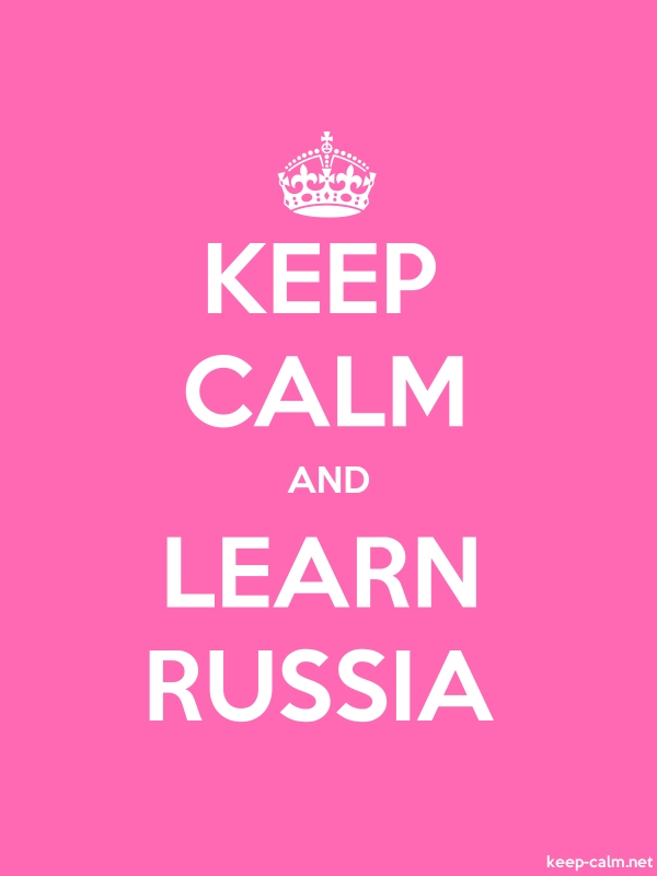 KEEP CALM AND LEARN RUSSIA - white/pink - Default (600x800)
