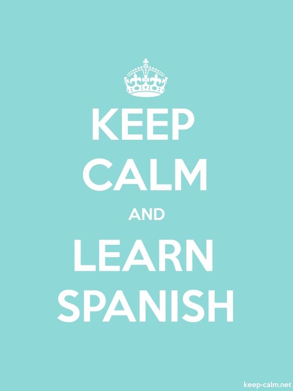 KEEP CALM AND LEARN SPANISH - white/lightblue - Default (600x800)