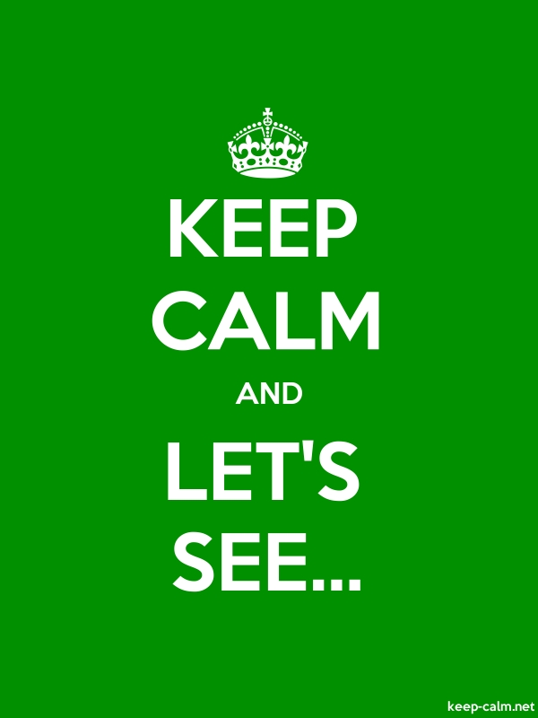 KEEP CALM AND LET'S SEE... - white/green - Default (600x800)