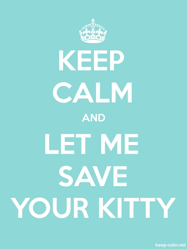KEEP CALM AND LET ME SAVE YOUR KITTY - white/lightblue - Default (600x800)