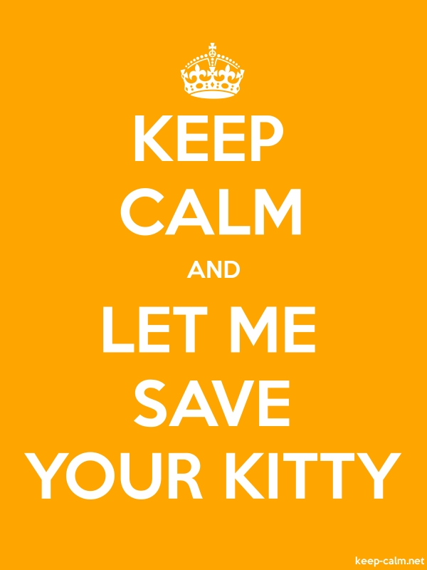 KEEP CALM AND LET ME SAVE YOUR KITTY - white/orange - Default (600x800)