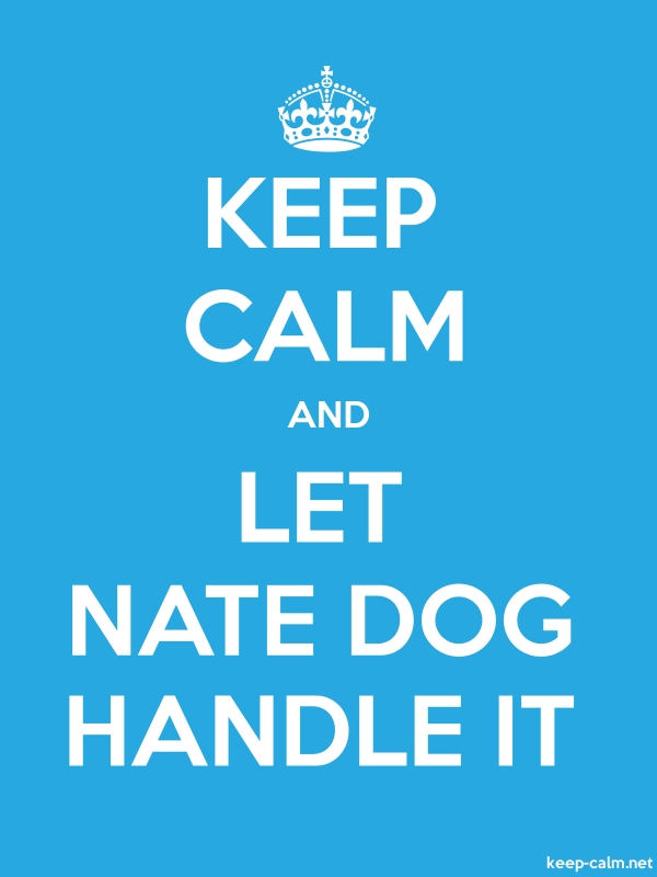 KEEP CALM AND LET NATE DOG HANDLE IT - white/blue - Default (600x800)