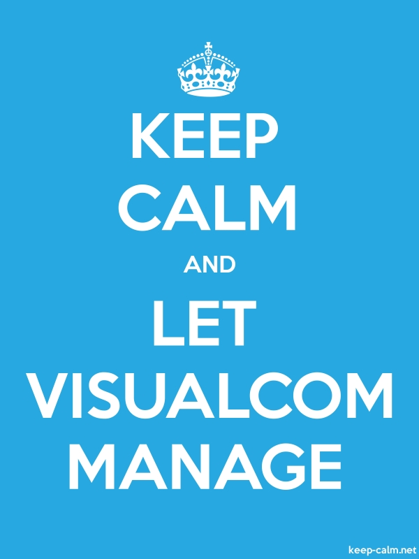 KEEP CALM AND LET VISUALCOM MANAGE - white/blue - Default (600x800)