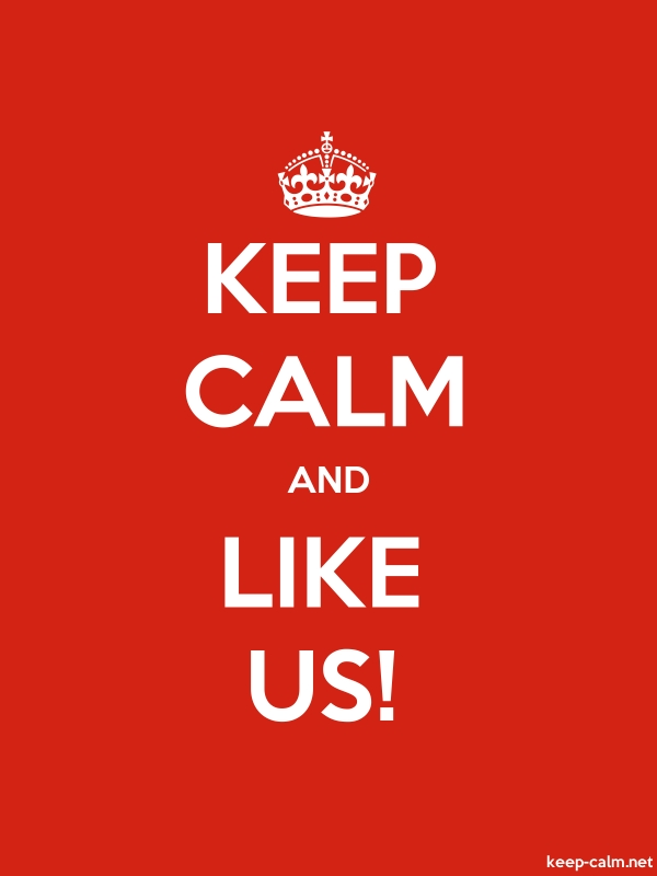 KEEP CALM AND LIKE US! - white/red - Default (600x800)