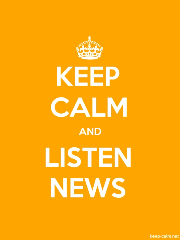 KEEP CALM AND LISTEN NEWS - white/orange - Default (600x800)