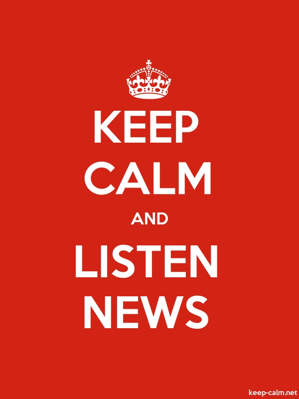 KEEP CALM AND LISTEN NEWS - white/red - Default (600x800)