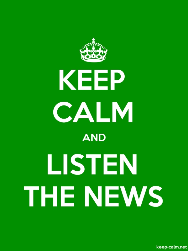 KEEP CALM AND LISTEN THE NEWS - white/green - Default (600x800)