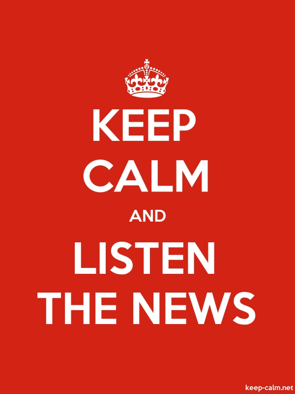 KEEP CALM AND LISTEN THE NEWS - white/red - Default (600x800)